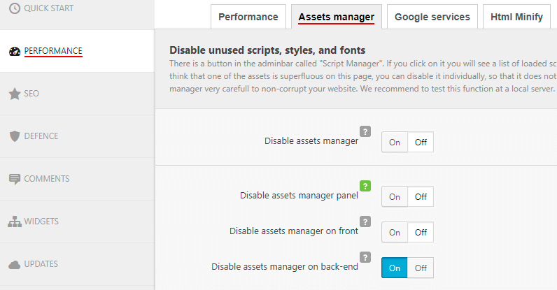 Clearfy assets manager settings