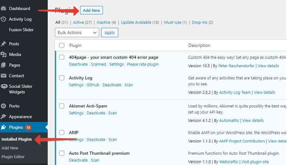 1 - Installation of the Disable Admin Notices plugin