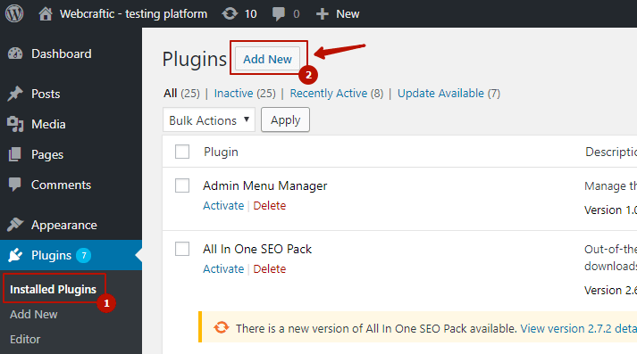 Installation of the Clearfy plugin