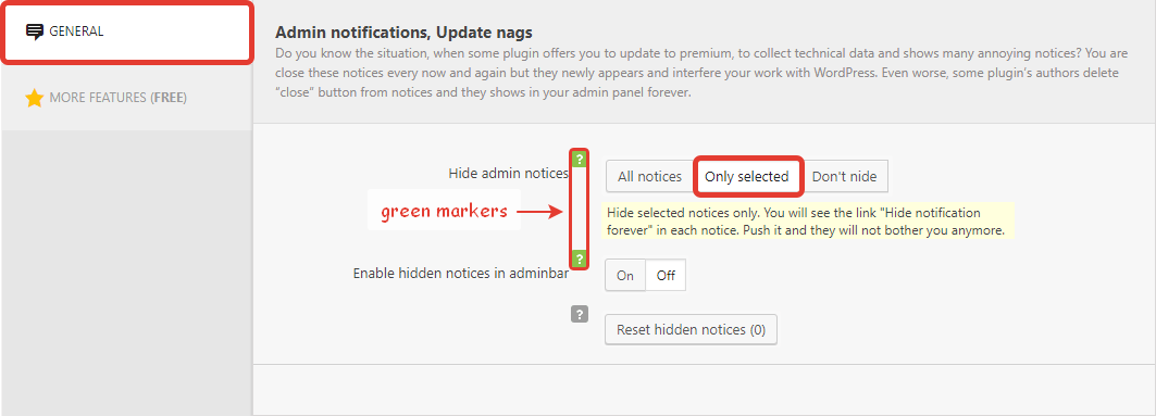Disable selected notices