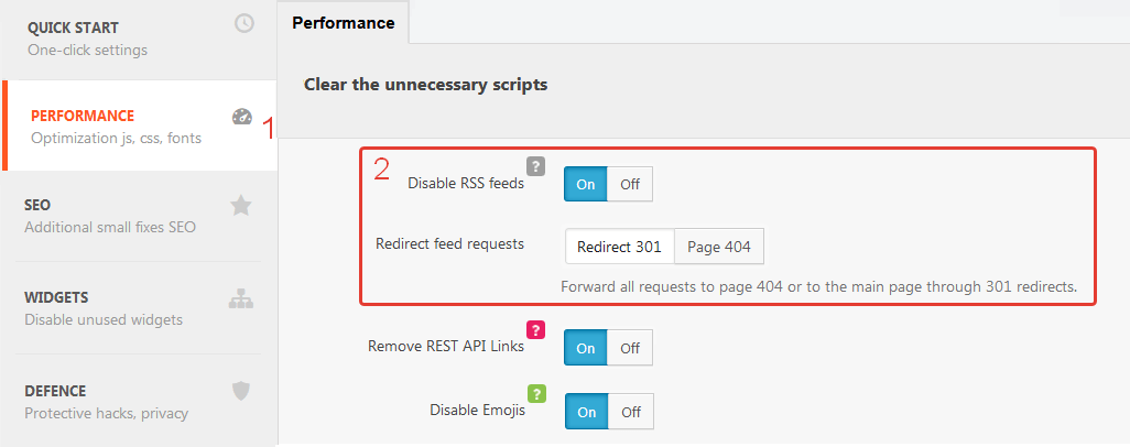 Disable WordPress RSS feeds
