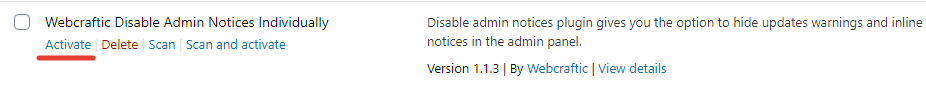 2020 07 10 19 42 54 - Installation of the Disable Admin Notices plugin